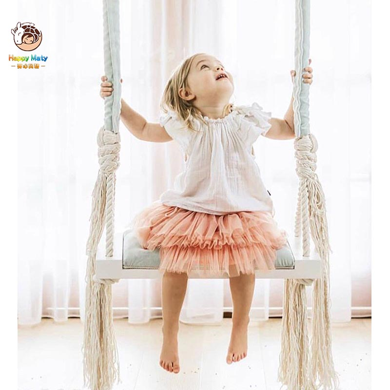 Happymaty Children's Wooden Swing Indoor Hanging Swings Set Safety Baby Room Decoration Kids Entertainment Swing M5