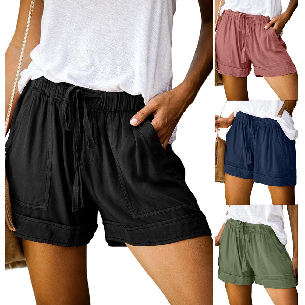 Plus Size Shorts Women Casual Solid Multi-Pocket Casual Woman Shorts Drawstring Short Pants Women Spodenki Shorts For Women