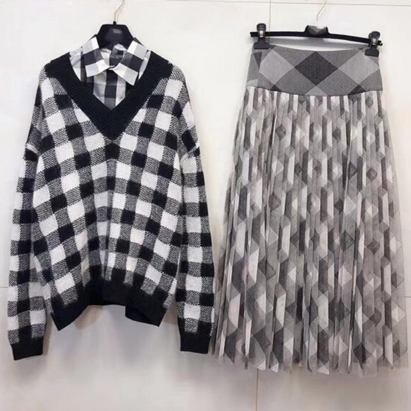 Spring Knitted 2 Piece Set Women Skirt Suit Full Sleeve V-neck Plaid Sweater High Waist Skirt Female Sweater Suit