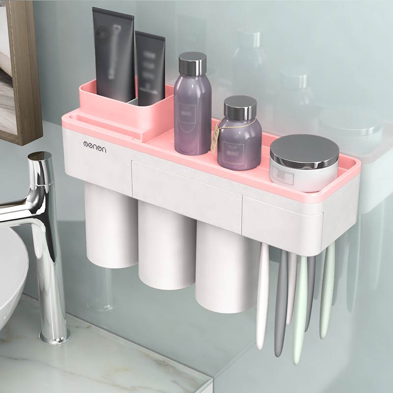 Solid Bathroom Cleanser Storage Rack Inverted Cup Wall Mount Magnetic Adsorption Toothbrush Holder Pink Gray 1Set Green image