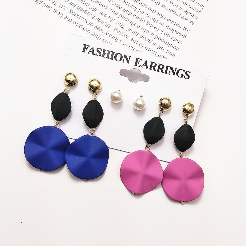 Paint Drip Earrings 2 pairs Vintage Black and Colorful Stud Earrings Rectangle and Round Black Post Earrings