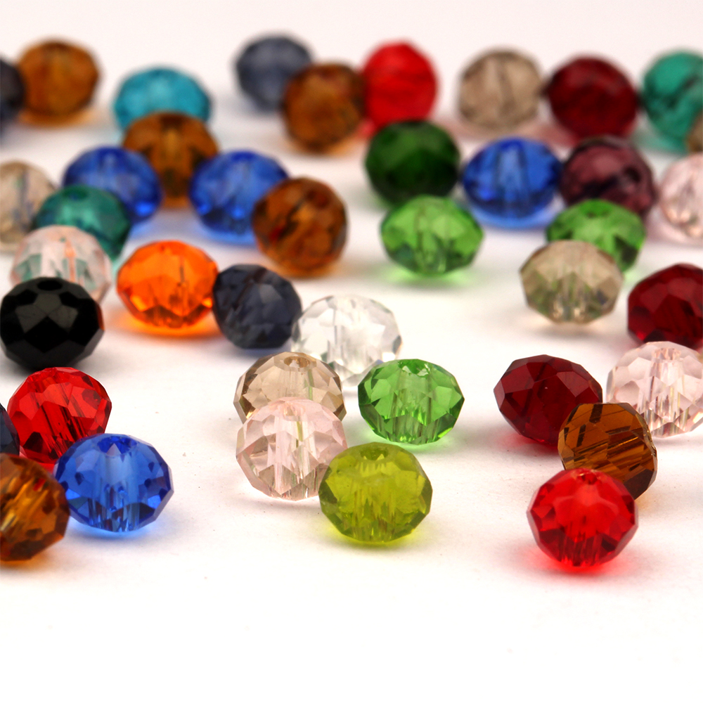 150PC FACETED RONDELLE  CRYSTAL GLASS BEADS PICK COLOUR 3X4MM