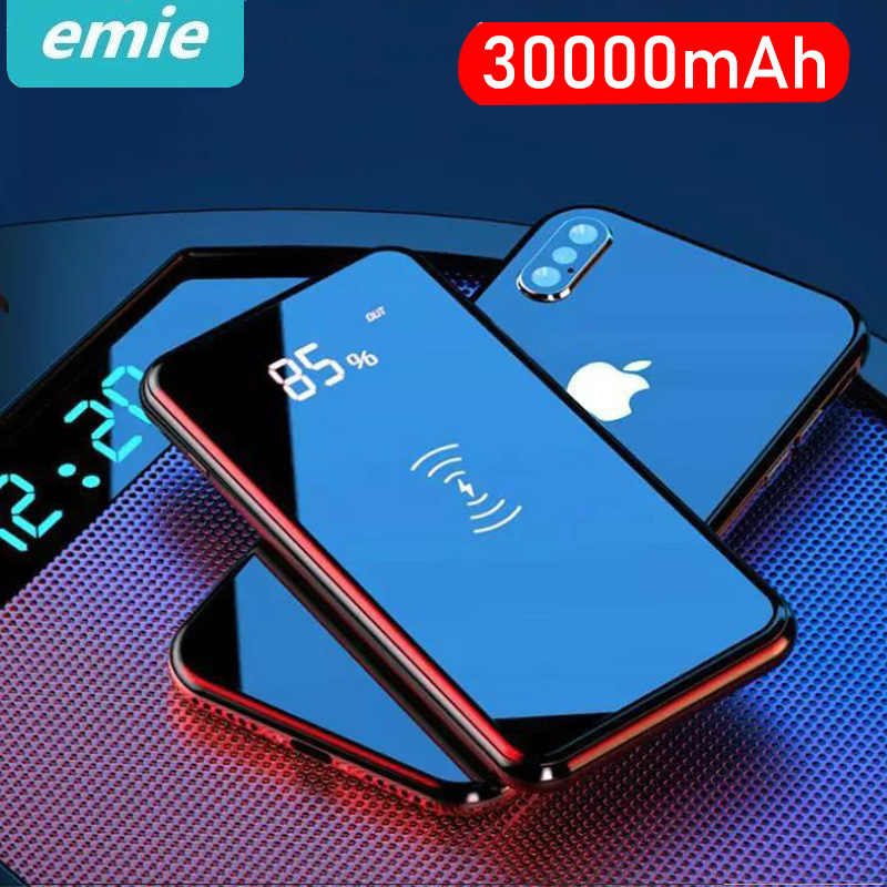 30000mah Power Bank External Battery Bank Built-in Wireless Charger Powerbank Portable QI Wireless Charger for iPhone 11 Samsung