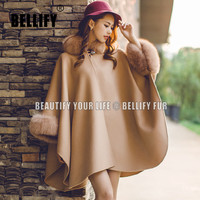Autumn winter Womens Real cashmere cape shawls with Big real Fox Fur collar Loose warm Women real fur cape