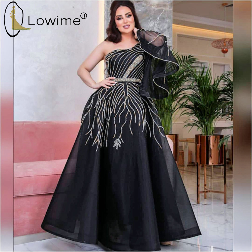 Arabic Black One Shoulder Evening Dresses A Line Single Long Sleeve Middle East Formal Women Dress Couture Vestido De Soiree