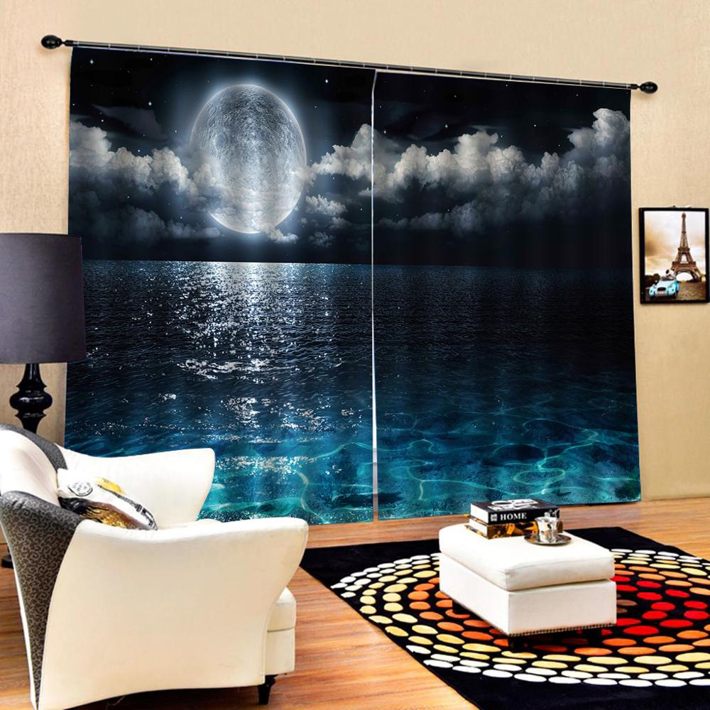blue lake curtains Customized size Luxury Blackout 3D Window Curtains For Living Room moon Drapes Cortinas