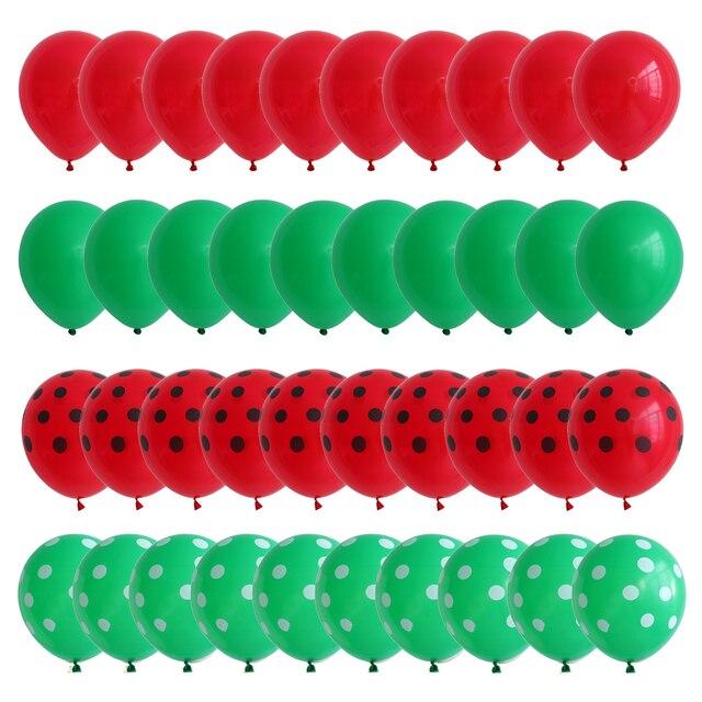 40 pièces rouge pastèque inspiré ballons en Latex Agate verte et rouge à pois ballon été fête danniversaire décorations Air Globos