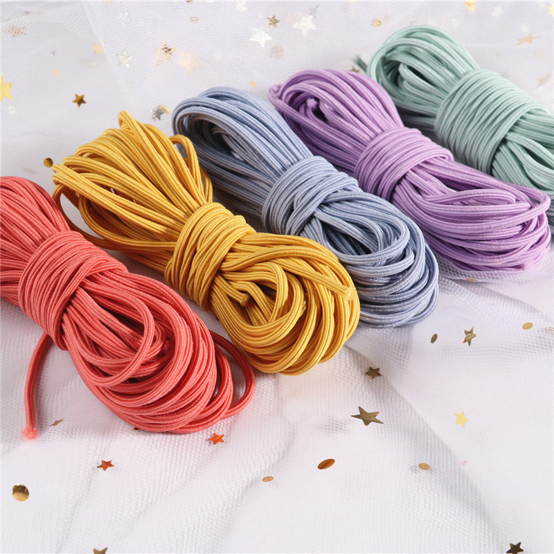 5 Meters 2mm Eco-Friendly Round Rubber Elastic Cord Stretch Elastic Bands Rope Jewelry Bracelets Making Garment Tag DIY Craft