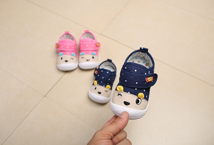 Spring And Autumn New Men And Baby Cartoon Animal Pattern Shoes Infant Magic Stickers Called Shoes Non-slip Toddler Shoes