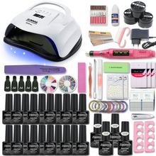 80W UV Lamp Nail Set For Manicure Kit 10&20 Color Gel Varnish Drill Machine File Tool  Extension
