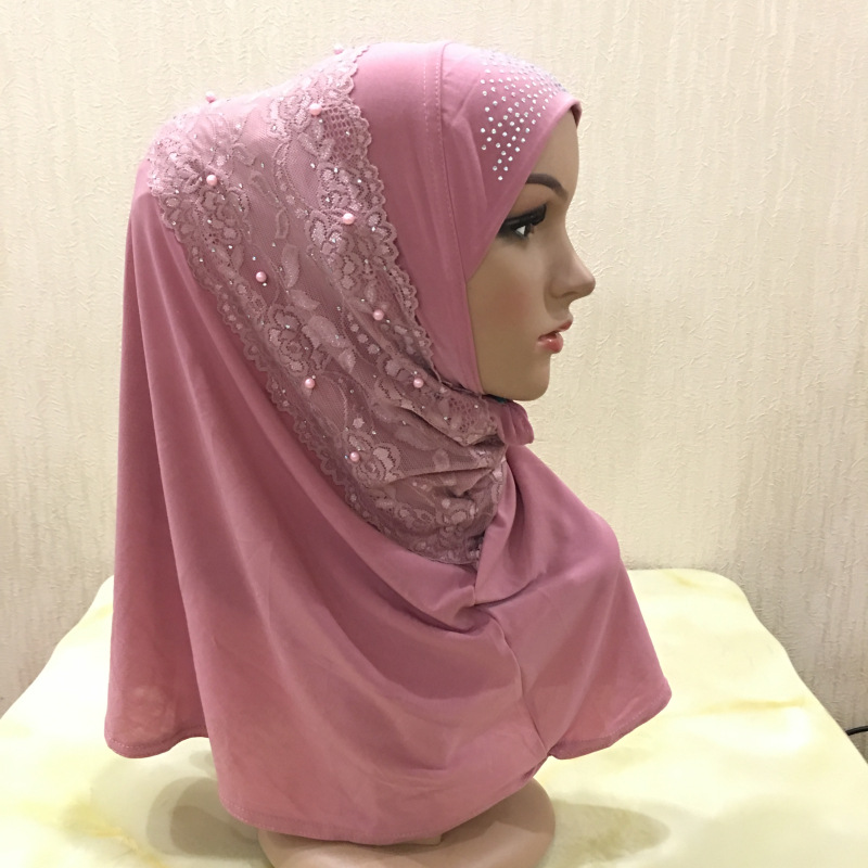 Lace Hijab Scarf For Muslim Women Girl Instand Hijabs Prayer Hat Ramadan Neck Cover Headwrap Cap Islamic Beading Headscarf Shawl