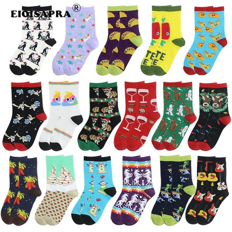 Creative Hip Hop Colorful Happy Art Socks Streets Trend Fashion Tide Socks Casual Cartoon Animals Christmas Present Funny Sox