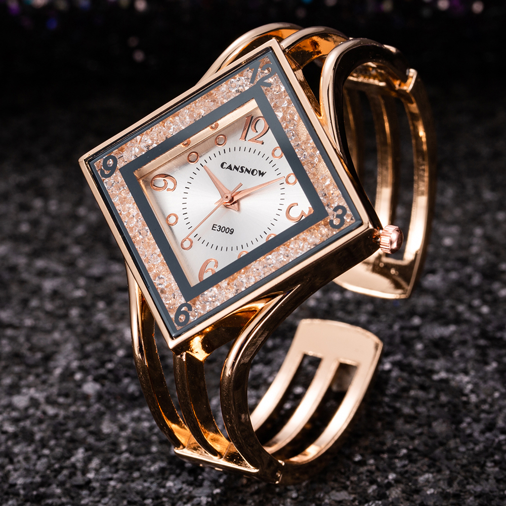 Women Rose Gold Bangle Bracelet Watch 2019 New Luxury Ladies Rectangle Dress Rhinestones Quartz Watches Clock Relogio Feminino