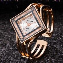 Bracelet Watch Clock Rectangle Rose-Gold Women Ladies Dress Rhinestones Quartz Luxury