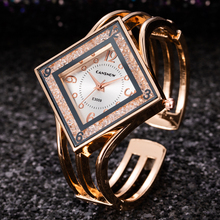 Women Rose Gold Bangle Bracelet Watch 2019 New Luxury ladies Rectangle Dress Rhi