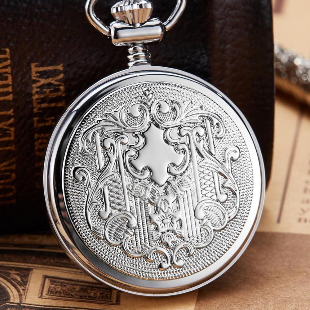 Antique Vintage Copper Mechanical Pocket Watch Silver Mechanical FOB Chain Necklace Male Clock Gift