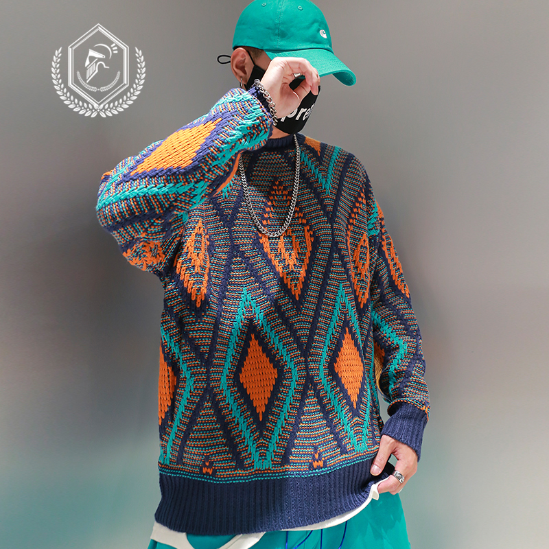 Men Loose Knitwear Fashion Patchwork Hip Hop Pullovers NEW Sweaters