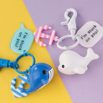 Cute Whale Key Chain Kawaii Dolphin Car Key Chains Purse Pendant Bag Charm for Key Rings Holders Lovers Couples Best Gift image