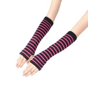 Arm-Warmer-Sleeves Long-Gloves Thumb-Hole Fingerless Stripes-Printed Girls Winter Women