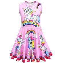 Vestidos para crianças, vestidos de unicórnio, meninas, verão, princesa, bebê, festa, fantasia