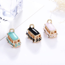цена на 5PCS Lucky Happiness Bus Enamel Pendant Charms Gold Tone Oil Drop DIY Bracelet Floating Charms