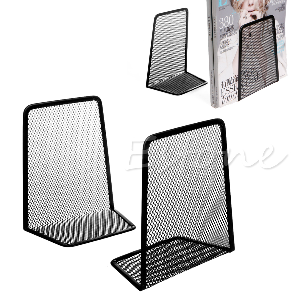 1 Pair Metal Mesh Desk Organizer Desktop Office Accessories Home Book Holder Bookends Black-PC Friend