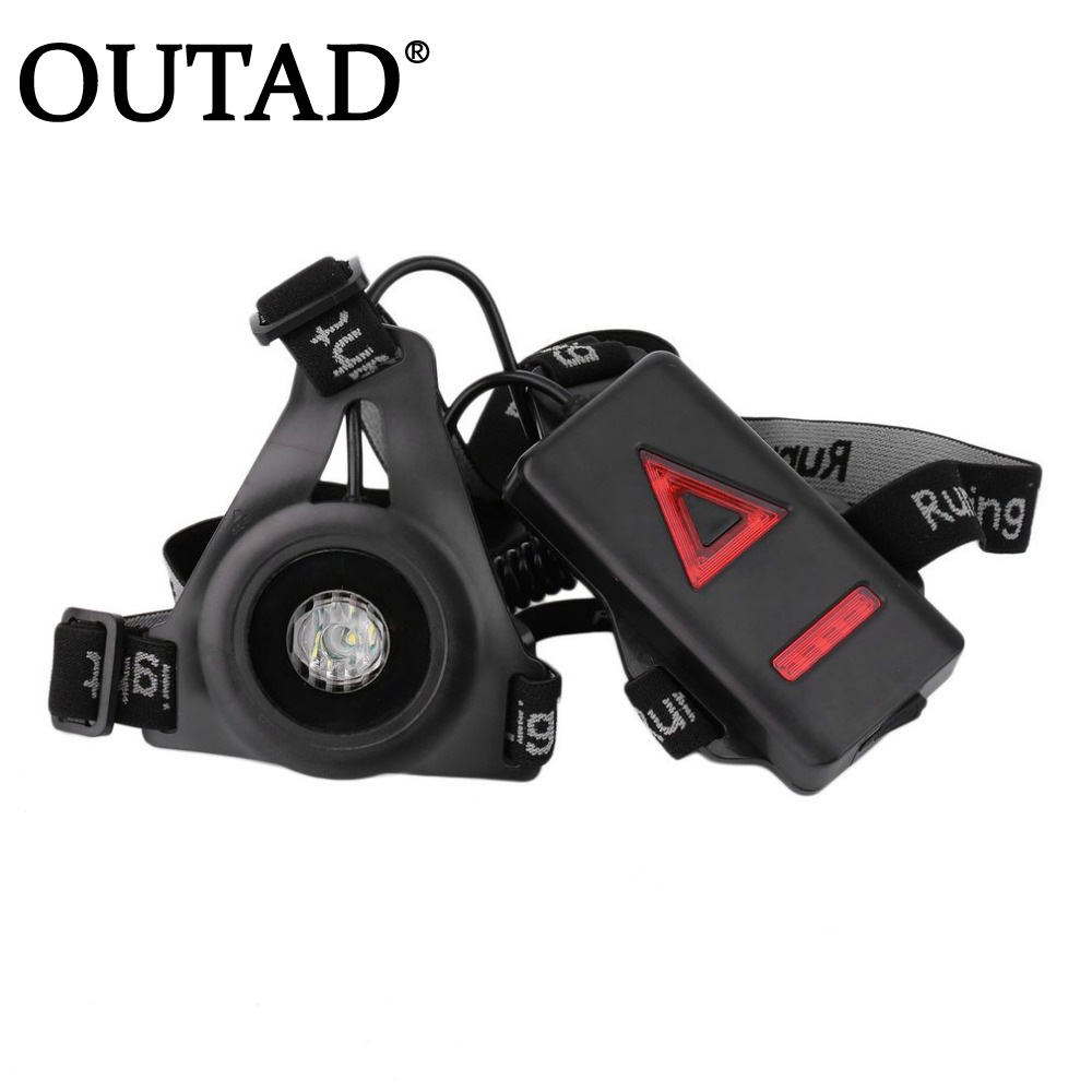 OUTAD Outdoor Sport Running Lights Q5 LED Night Running Flashlight Warning Lights USB Charge Chest Lamp White Light Torch Tools