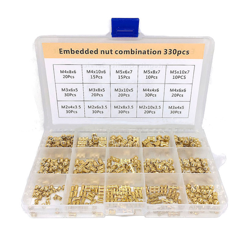 330pcs Brass Insert Nut Combination Kit M2 M3 M4 M5 INjection Molded Copper Nut Embedded Knurled Threaded Insert Nut Set