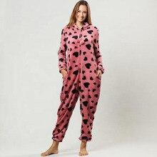Women Printing Hoody Flannel Onesie Jumpsuit One Piece Pajamas All in Anime Pijama Warm Adult Homewear