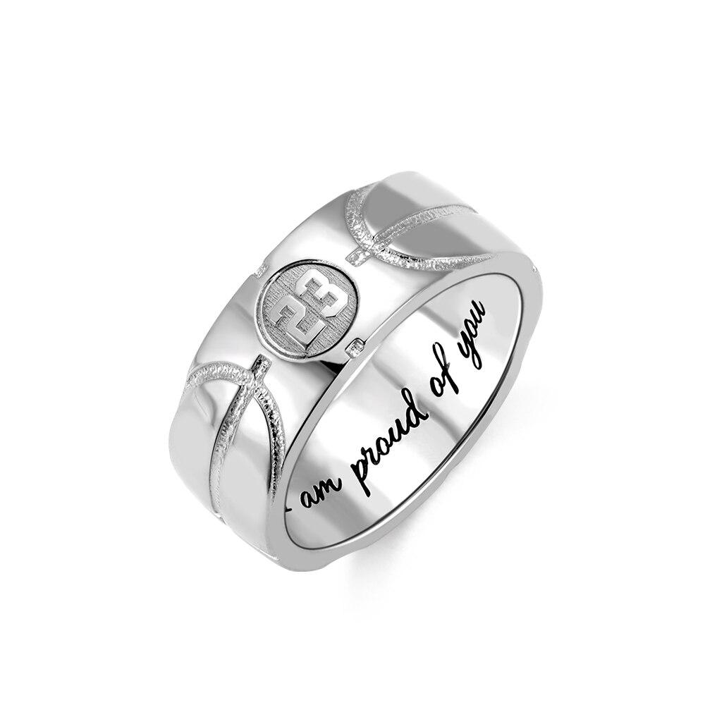 AILIN hommes anneau personnalisé initiale ou numéro bague bijoux 925 bague en argent pour homme basket Texture avec gravure personnalisée
