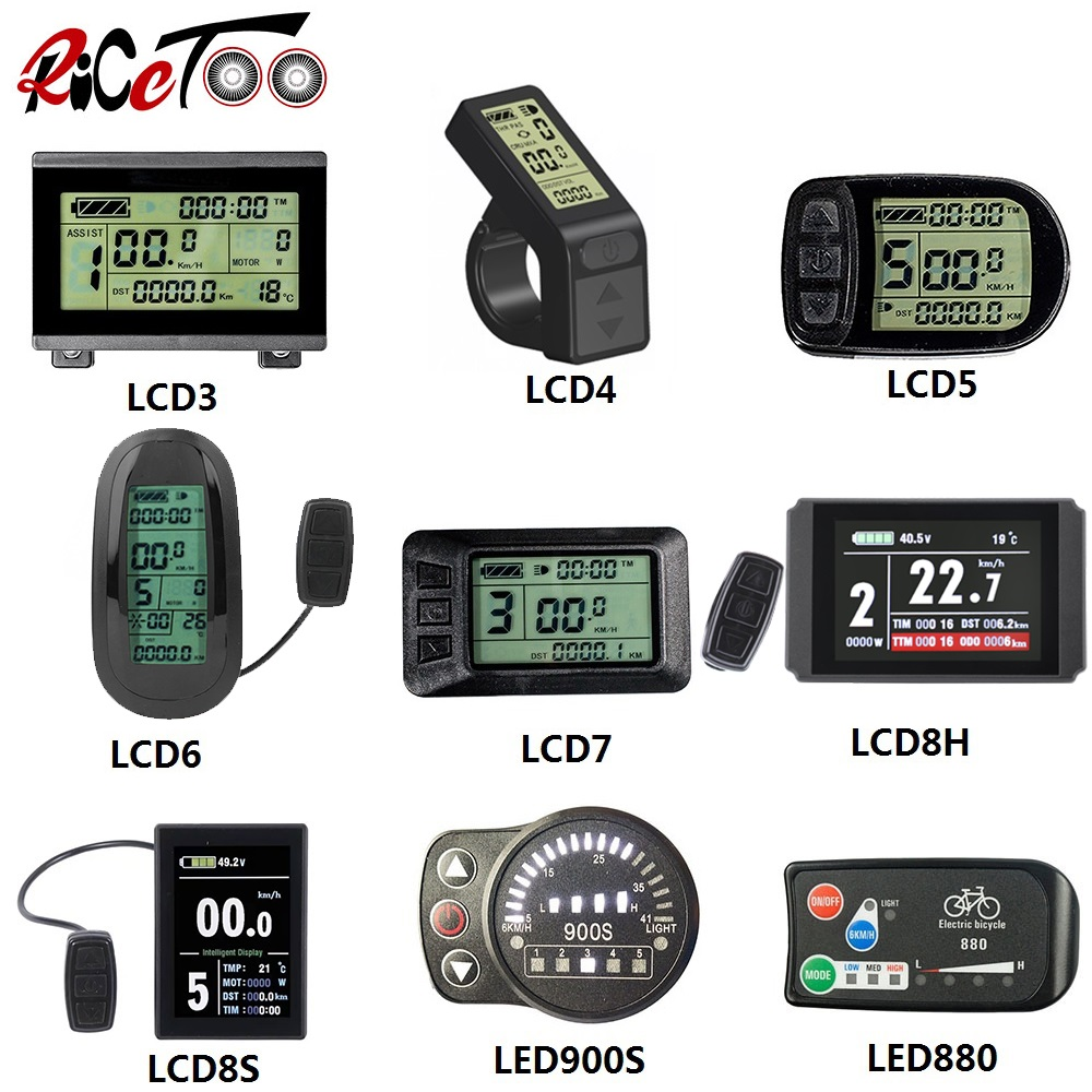 RICETOO Electric Bicycle KT LCD3/LCD3U/LCD4/LCD5/LCD6/LCD6U/LCD7U/LCD8H/LCD8S/LED880/LED900S Display 36V/48V/72V For E-bike