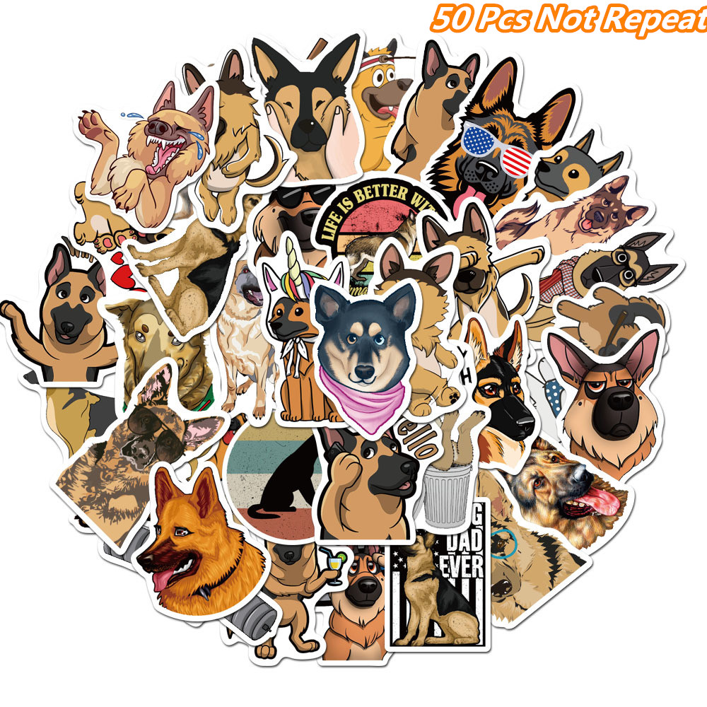 50Pcs Cartoon Animals Cute Shepherd Dog Stickers For Suitcase Laptop Phone Skateboard Scrapbooking Decoration Waterproof Sticker