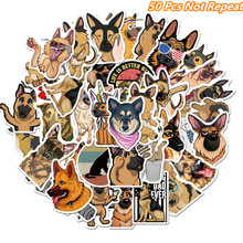 цена на 50Pcs Cartoon Animals Cute Shepherd Dog Stickers For Suitcase Laptop Phone Skateboard Scrapbooking Decoration Waterproof Sticker