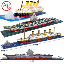 Città Titanic RMS La Nave Da Crociera Barca Building Block incompatibile Legoed Serie Pirata Aircrafted Carrier Diamante Mini Giocattolo del Mattone(China)