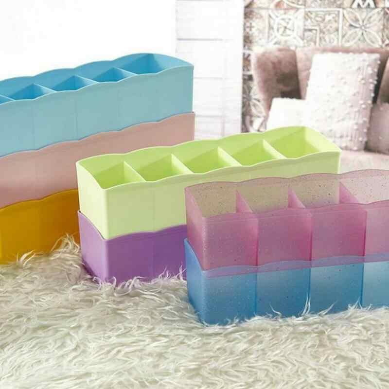 5 Grids Ingedeeld Verpakking Organizer Stropdas Bra Sokken Divider Lade Grote Capaciteit Plastic Opbergdoos Voor Thuiswonende