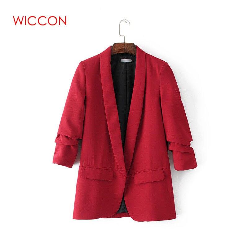 2020 Spring Fashion Red Blazer Women OL Puff Sleeve Workwear Blazer Coat No Button Three Quarter Ladies Outwears