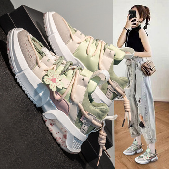 Natascha Women Dad Shoes Student Women Chunky Sneakers Vulcanized Shoes Trend Flower Lacing Patchwork Thick Sole Casual Spring