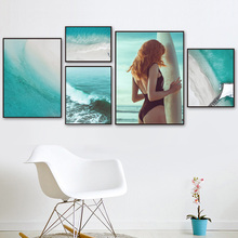 Sea Waves Beach Sexy Girl Bridge Quotes Wall Art Canvas Painting Nordic Posters And Prints Wall Pictures For Living Room Decor fashion perfume flower quotes wall art canvas painting nordic posters and prints wall pictures for living room girl salon decor