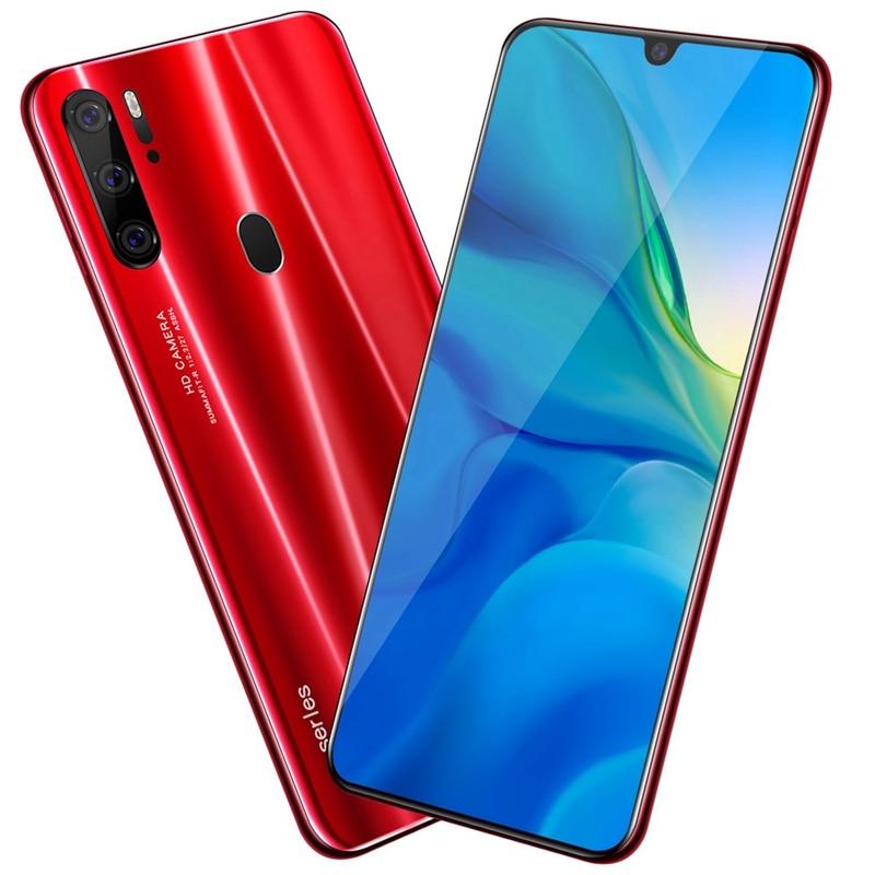 6.3 Inch Smartphone HD Waterdrop Screen Android 9.1 P35 Pro 2 + 32GB Triple Camera Smartphone 4800MAh Red
