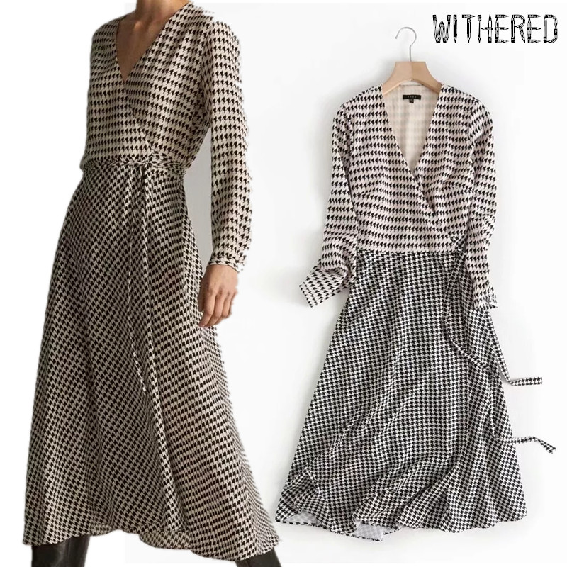 Withered England Office Lady V-neck Patchwork Houndstooth Plaid Midi Dress Women Vestidos De Fiesta De Noche Vestidos Blazers