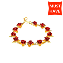 MANBU Hot sale Red Rose Flowers bracelets for women rose gold bracelet plated alloy femme wedding party jewelry gifts