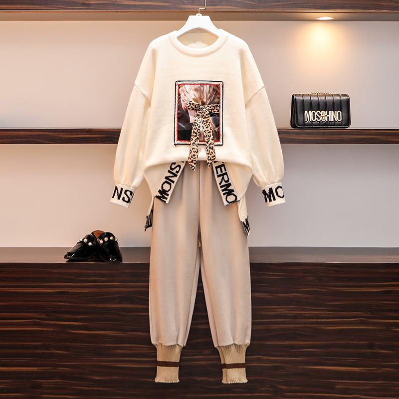 Women 2 Piece Pant Set 2019 Plus Size Fall Winter Knitted Pattern Girl Loose Sweater And Woolen Casual Trousers Suit