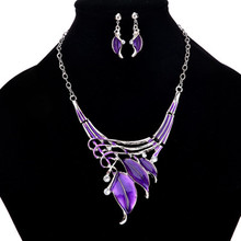 New Jewelry Arrivals  2019 Enamel Leaf Statement Necklace Earring Set Crystal Jewelry Sets Fashion Leaves Nickel Free Shipping charms white crystal jewelry sets fashion women statement necklace set new asoebi beads jewelry free shipping wd474