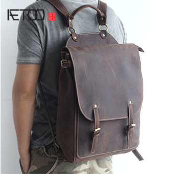 AETOO New front cowhide retro leather shoulder bag men travel backpack Europe and the United States crazy horse leather new cowhide shoulder bag leather messenger bag buckle fashion europe and the united states portable ladies bag