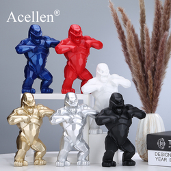 Gorilla Geometric Sculpture Resin Monkey King Kong Home Decor Model Collectible Nordic Living Room Decoration Ornaments Gifts
