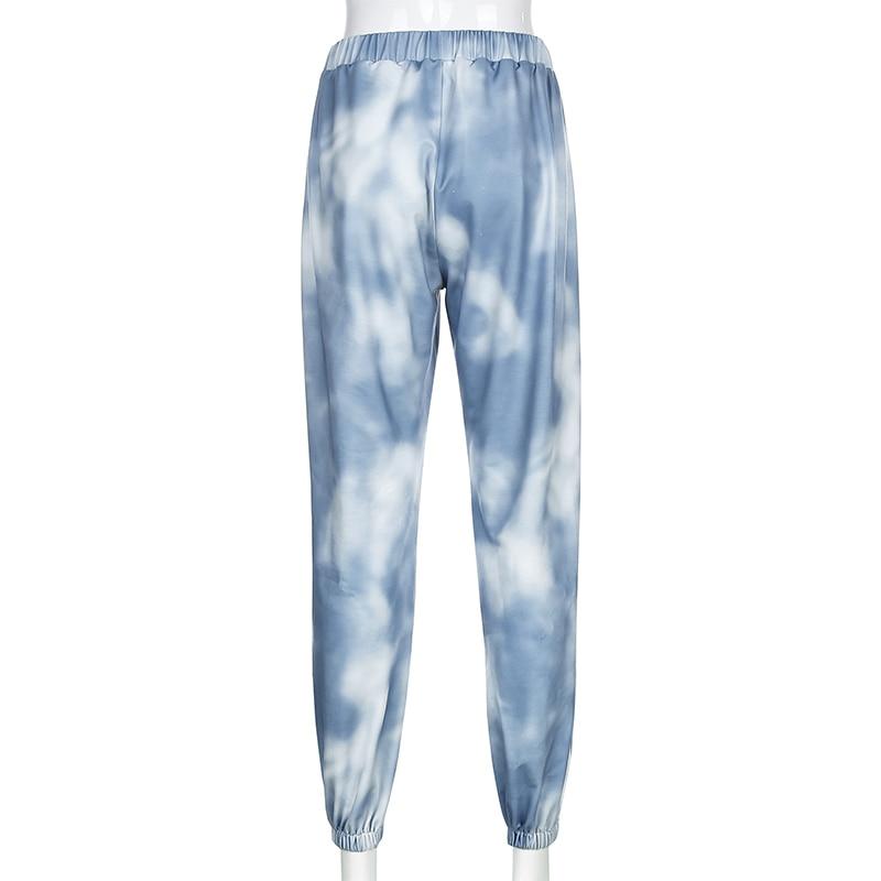 Waatfaak Joggers-Trousers Harem-Pants Tie Dye Print Streetwear Elastic Butterfly Blue