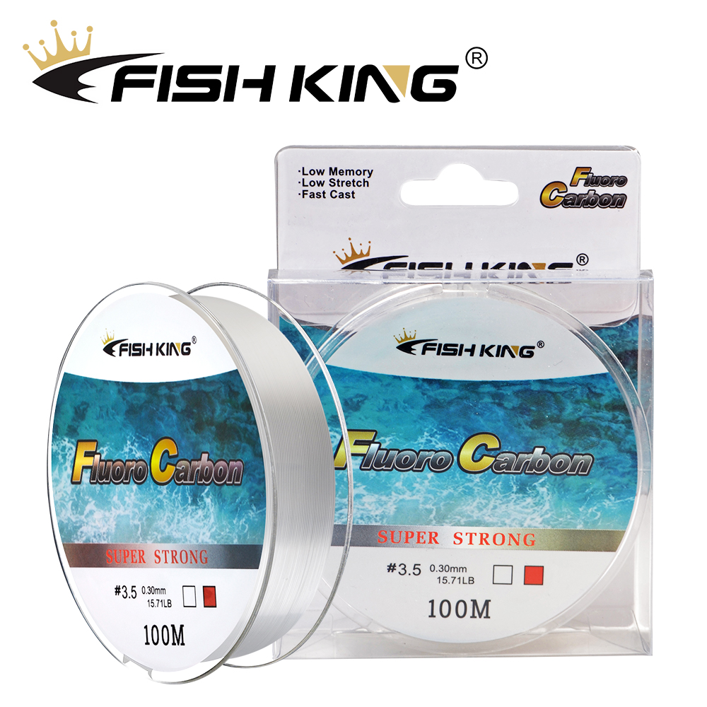 FISH KING 100M Fluorocarbon Coating Fishing Line 4.136LB-34.32LB Carbon Fiber Monofilament Leader Line Carp Fishing Sinking Line