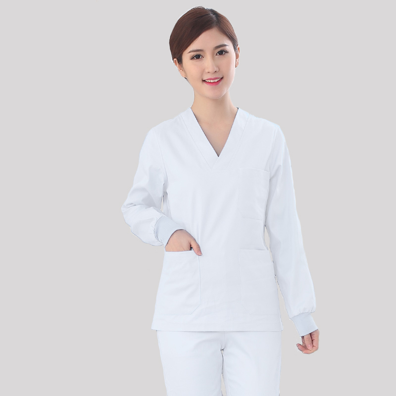 Hospital Operating Room Clothing Scrubs Medical Uniforms Women Slim Fit Breathable Cotton Dark Green White Uniform