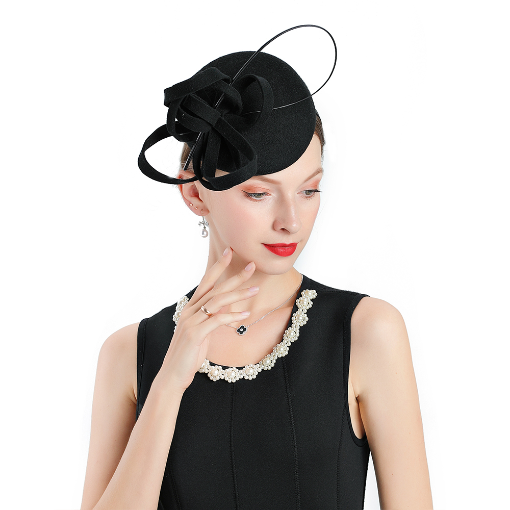 New Women 39 s Fashion fedoras Church Hat Winter Black Fascinator Wool Prom Cap Butterfly Flower Decoration Tea Party Hats Wedding in Women 39 s Fedoras from Apparel Accessories