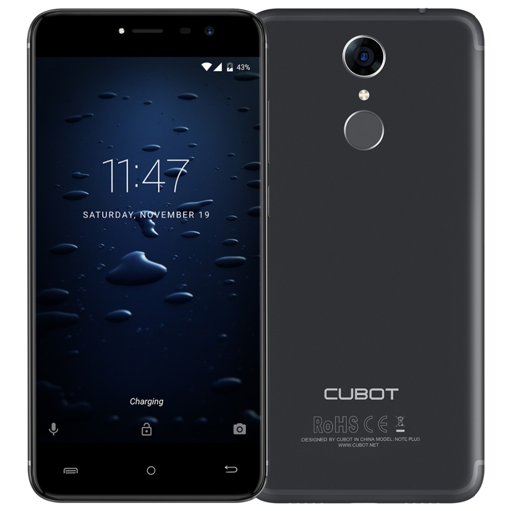 Original Cubot Note Plus 5.2 ''RAM 3GB ROM 32GB MTK6737T Quad-Core Android 7.0 4G LTE Smartphone 13MP 1920x1080 P téléphone portable